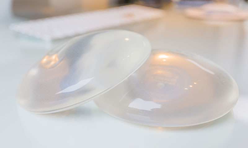 A pair of silicone implants that can be used to help increase the profile of the breast through breast augmentation.