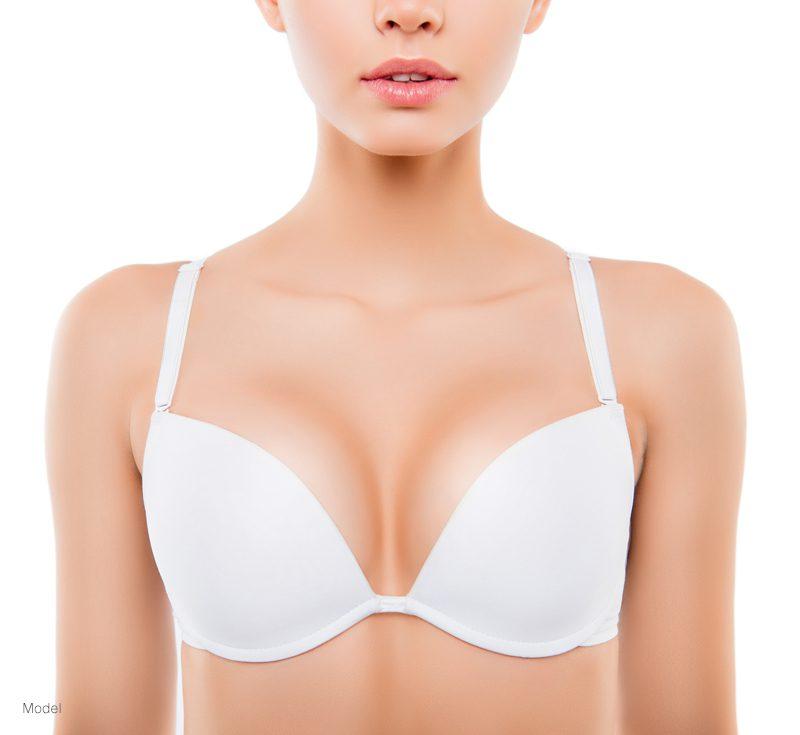 Woman in a white bra