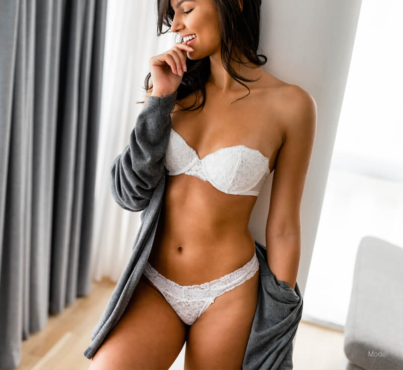 Fit woman in a robe